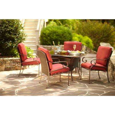 Cedar Island 5-Piece All-Weather Wicker Patio Dining Set with Chili Cushion