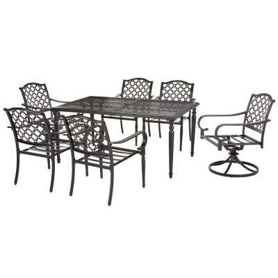 Laurel Oaks Dark Brown 7-Piece Outdoor Dining Set with Beige Cushions