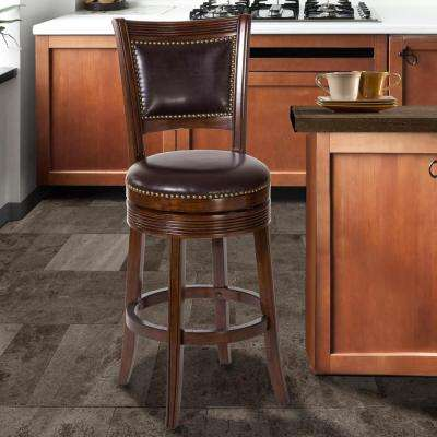 Lockefield 26 in. Brown Cherry Swivel Cushioned Bar Stool