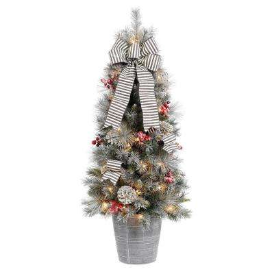 4 ft. Snowy Pinecone and Berry Artificial Christmas Porch Tree with 50 UL Clear Lights
