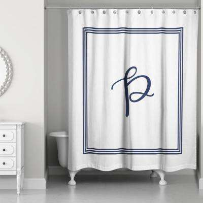 71 in. W x 74 in. L Navy Blue and White Letter P Monogrammed Fabric Shower Curtain