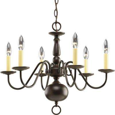 Americana Collection 6-Light Antique Bronze Chandelier