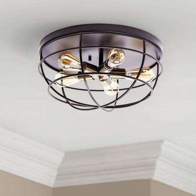 Merra 17 7 In 5 Light Oil Rubbed Bronze Industrial Flush Mount With Cage Frame Hcf 1704 00 Bnhd 1 The Home Depot