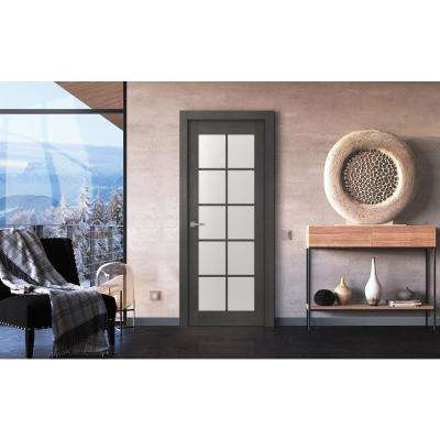 36 in. x 80 in. Avanti Black Apricot Right-Hand Solid Core Wood 10-Lite Frosted Glass Single Prehung Interior Door