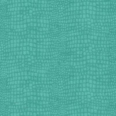 56 sq. ft. Turquoise Crocodile Wallpaper
