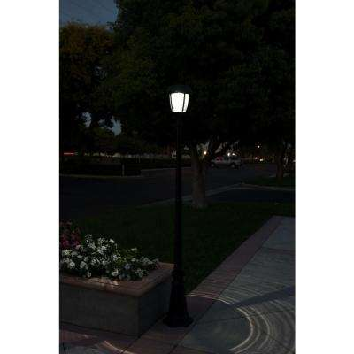Stay On Whole Night 300 Lumen 77 in. Outdoor Black Solar LED Post Lamp