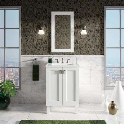 Poplin 24 in. Vanity Cabinet in Linen White with Chrome Hardware