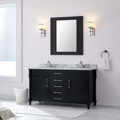 Aberdeen 60 in. W x 22 in. D Vanity in Black with Carrara Marble Top with White Sinks