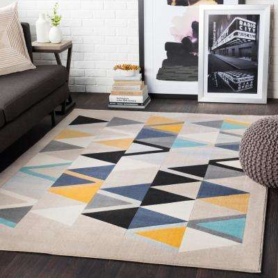 Astvin Yellow/Blue 3 ft. 11 in. x 5 ft. 7 in. Geometric Area Rug