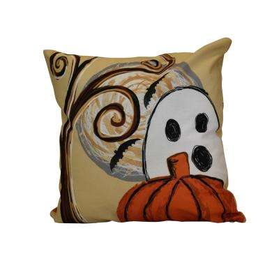 16 in. x 16 in. Ooky Spooky, Geometric Print Pillow, Gold