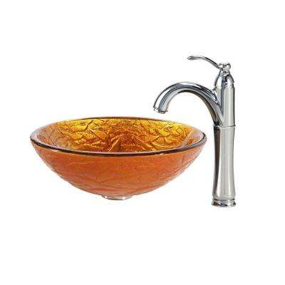 Blaze Glass Vessel Sink in Gold with Riviera Faucet in Chrome