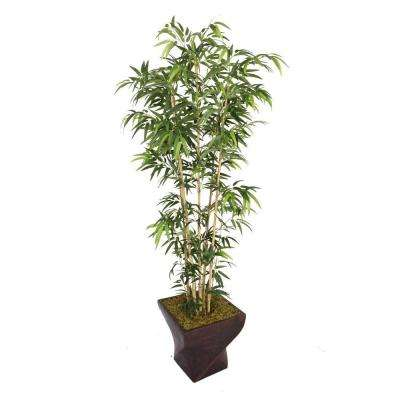 82 in. Tall Natural Bamboo Tree in 17 in. Fiberstone Planter