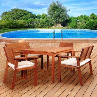 Nelson 5-Piece Rectangular Eucalyptus Patio Dining Set with Striped Beige and Off-White Cushions
