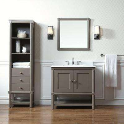 Sutton 36 in. W x 22 in D Vanity in Brooke Trout with Marble Vanity Top in Yves White with White Basin