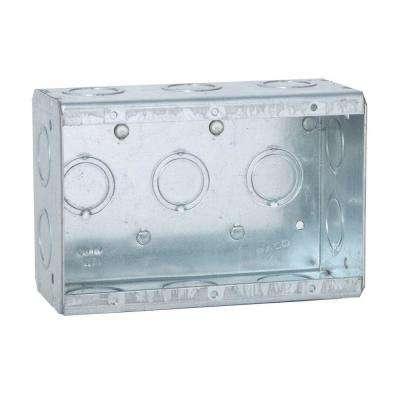3-Gang Masonry Box, 2-1/2 in. Deep with 1/2 and 3/4 in Concentric KO's (10-Pack)