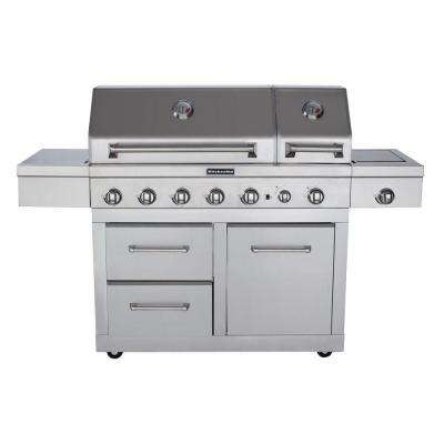 6-Burner Dual Chamber Propane Gas Grill in Stainless Steel with Side Burner and Grill  Cover