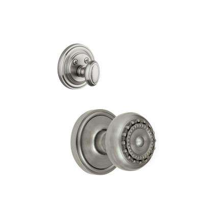Georgetown Single Cylinder Satin Nickel Combo Pack Keyed Differently with Parthenon Knob and Matching Deadbolt