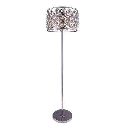 Madison 72 in. Polished Nickel Floor Lamp with Golden Teak Smoky Crystal