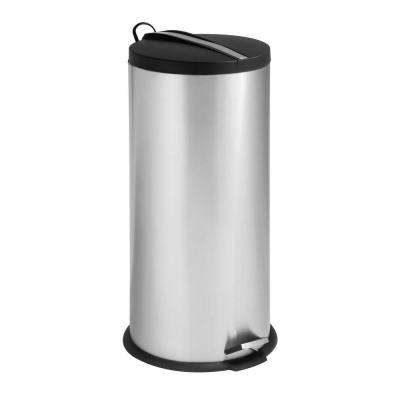 30 l Stainless Steel Round Step-On Touchless Trash Can with Black Lid