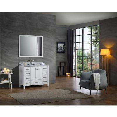 Cambridge 43 in. Vanity in with Carrara Marble Vanity Top in White with White Basin and Mirror