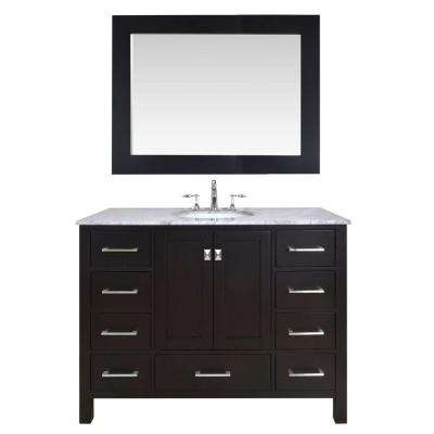 Malibu 48 in. Vanity in Espresso with Marble Vanity Top in Carrara White and Mirror in Espresso