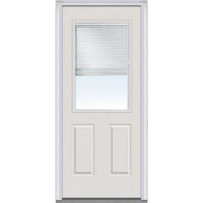 31.5 in. x 81.75 in. Internal Mini Blinds Clear Glass 1/2 Lite 2 Panel Primed White Steel Exterior Door with Muntins