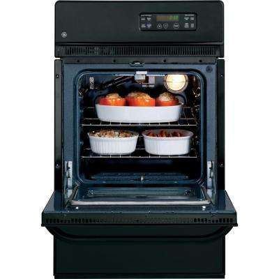 24 in. Single Gas Wall Oven Self-Cleaning in Black