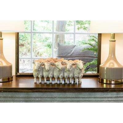 13 in. L x 7.25 in. W Off-White Resin 5-Sheep Decorative Planter
