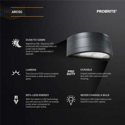 Architectural Round 50 Watt, LED Wall Pack, 5130 Lumens, Dusk to Dawn Outdoor Light (2-Pack)