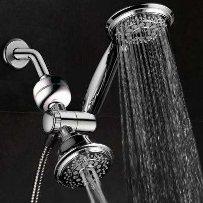 30-spray 4 in. Dual Shower Head and Handheld Shower Head in chrome