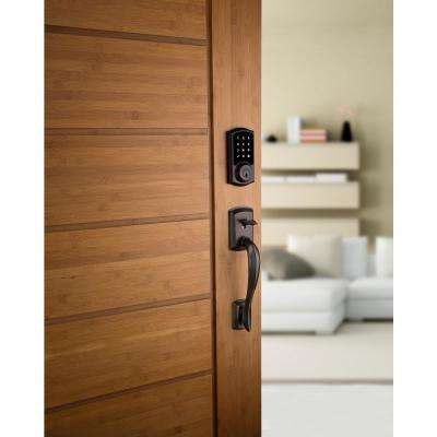 Premis Touchscreen Smart Lock Single Cylinder Venetian Bronze Electronic with Avalon Handleset and Tustin Lever