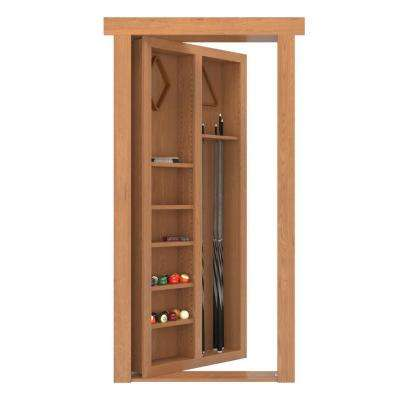 32 in. x 80 in. Flush Mount Assembled Pool Cue Door Alder Natural Stained Left-Hand Outswing
