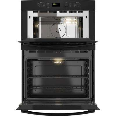 30 in. Double Electric Wall Oven with Built-in Microwave in Black