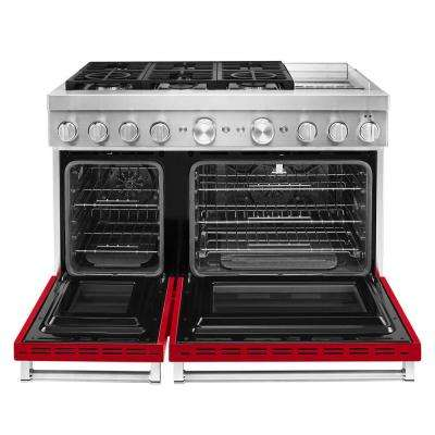 48 in. 6.3 cu. ft. Smart Double Oven Dual Fuel Range with True Convection in Passion Red with Griddle