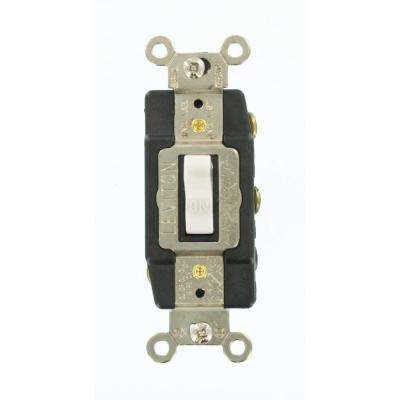 20 Amp Industrial Grade Heavy Duty Double-Pole Double-Throw Center-Off Maintained Contact Toggle Switch, White