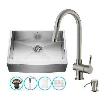 All-in-One Farmhouse Apron Front Stainless Steel 30 in. 0-Hole Single Bowl Kitchen Sink with Faucet Set
