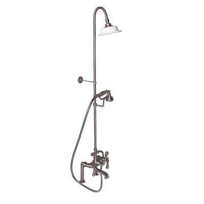 3-Handle Rim Mounted Claw Foot Tub Faucet with Riser, Hand Shower, Shower Head and Shower Rod in Brushed Nickel