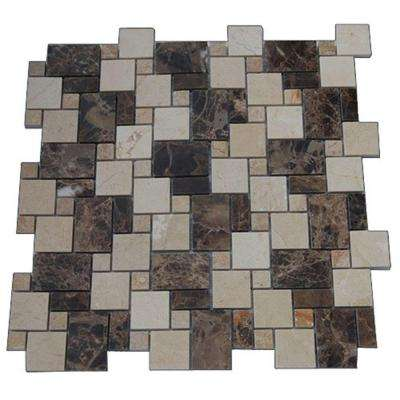 Parisian Crema Marfil and Dark Emperador Blend 12 in. x 12 in. Marble Floor and Wall Tile
