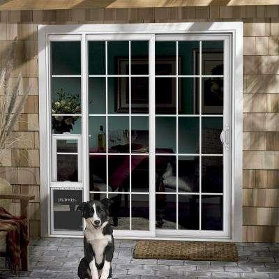 72 in. x 80 in. White Right Hand Vinyl Patio Door with Low-E Argon Glass, Grids and Large Pet Door