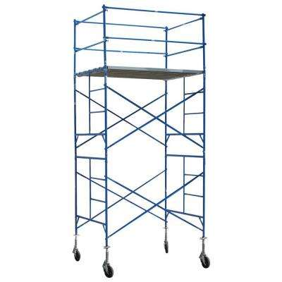 12 ft. x 7 ft. x 5 ft. 2-Story Commercial Grade Rolling Scaffold Tower 1,500 lb. Load Capacity