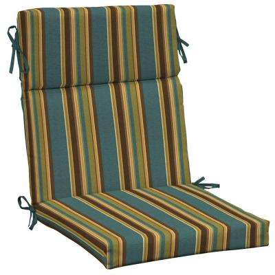 Lakeside Stripe High Back Outdoor Dining Chair Cushion