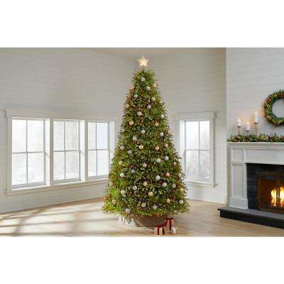 10 ft Dunhill Fir LED Pre-Lit Artificial Christmas Tree with 1200 White Mini Lights