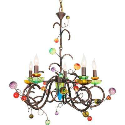Century 5-Light Copper and Black Chandelier