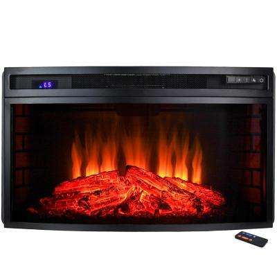 33 in. Freestanding Electric Fireplace Insert Heater in Black with Curved Tempered Glass and Remote Control