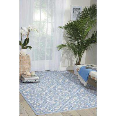 Lace It Up Aquarium 5 ft. x 7 ft. Indoor/Outdoor Area Rug