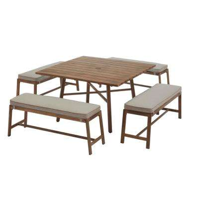 Walnut Cove 5-Piece Steel Outdoor Patio Dining Set with Putty Tan Cushions