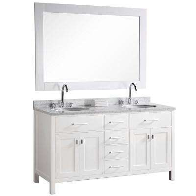 London 61 in. W x 22 in. D Vanity in Pearl White with Marble Vanity Top and Mirror in Carrera White