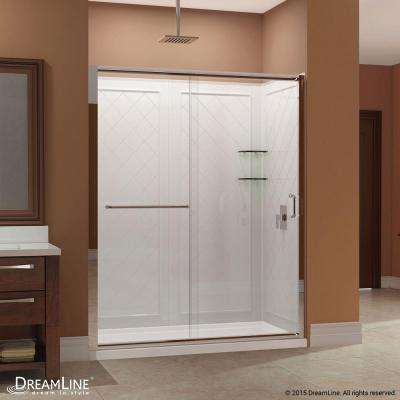 Infinity-Z 34 in. x 60 in. x 76.75 in. Sliding Shower Door in Brushed Nickel with Left Drain Base and Back Walls Kit