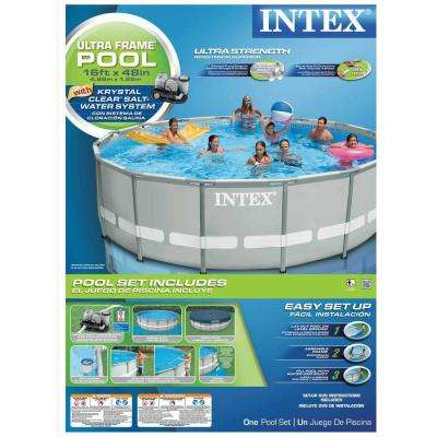 16 ft. x 48 in. Ultra Frame Pool Set with 1200 Gal. Filter Pump and Saltwater System