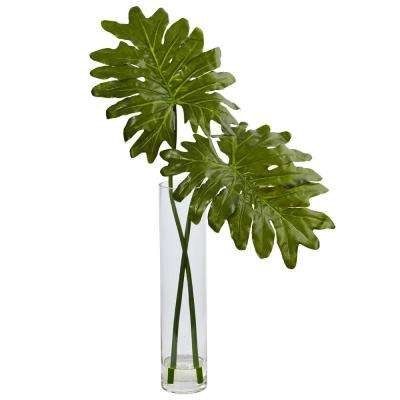 Indoor Selloum Artificial Plant in Cylinder Glass